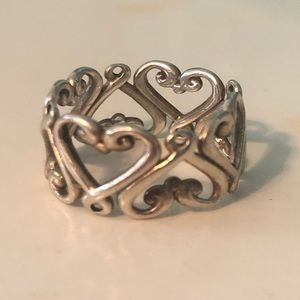 Tiffany & Co. Sterling Silver Heart Band Ring
